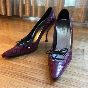Sexy Dolce & Gabbana Maroon Snakeskin Heels EU 37